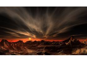 风景,日落,太阳,峡谷,山,壁纸,