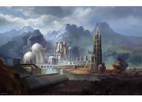 建筑物,建筑物,空间,航天飞机,未来主义的,壁纸,