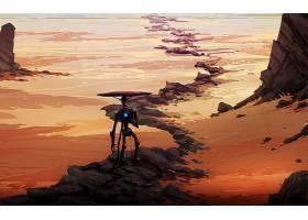 机器人,岩石,沙漠,风景,小路,壁纸,