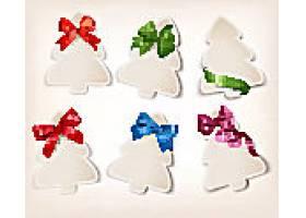 圣诞树形礼品卡带彩色礼品蝴蝶结丝带装饰素材