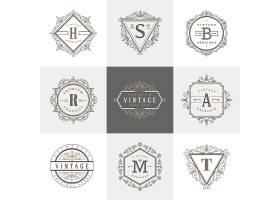 复古字母欧式花纹装饰边框徽章