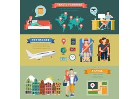 人物旅游出国飞机游玩主题矢量插画设计