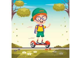 踩着平衡车上学的小男孩插画设计
