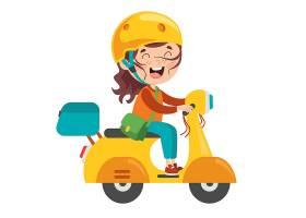 骑电动车电摩托车上学的小女孩插画设计