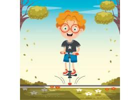 踩着弹跳车的小男孩插画设计