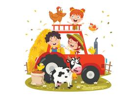 小朋友与农村小鸡奶牛卡车插画设计