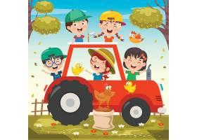 小朋友与农村小鸡卡车插画设计