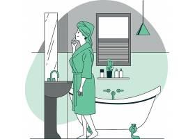 女性浴室浴袍插画设计
