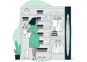 打开衣柜的女性插画设计