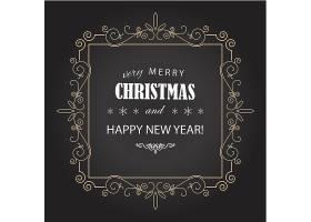 金色边框新年圣诞节快乐图形