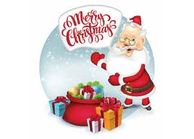 圣诞节圣诞老人送礼物插画设计