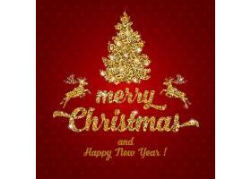 红金色圣诞节新年快乐装饰背景