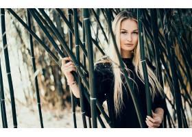 女人,模特,妇女,女孩,长的,头发,白皙的,蓝色,眼睛,竹子,壁纸,