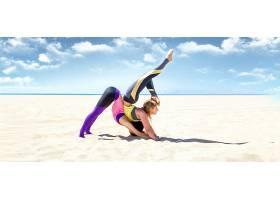 女人,瑜珈,妇女,女孩,沙,地平线,海滩,壁纸,