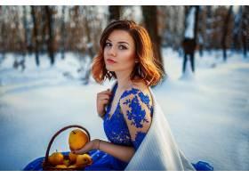 女人,模特,妇女,女孩,蓝色,穿衣,红发的人,蓝色,眼睛,冬天的,深度