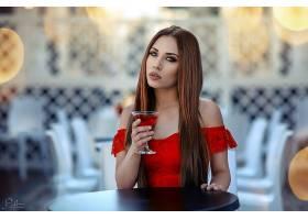 女人,模特,妇女,女孩,深度,关于,领域,红色,穿衣,喝酒,鸡尾酒,长