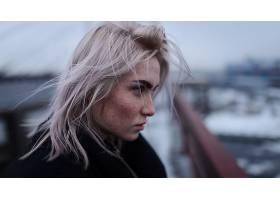 女人,模特,妇女,女孩,深度,关于,领域,脸,雀斑,白色,头发,壁纸,