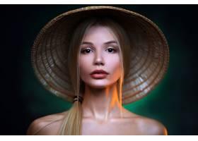 女人,模特,妇女,女孩,脸,口红,白皙的,亚洲的,圆锥形,帽子,棕色,