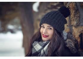 女人,模特,妇女,女孩,微笑,口红,深度,关于,领域,帽子,黑发女人,