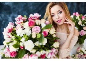 女人,模特,妇女,女孩,微笑,口红,白皙的,蓝色,眼睛,花,玫瑰,酒香,