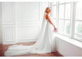 女人,新娘,妇女,模特女孩,婚礼,穿衣,白色,穿衣,花,酒香,白皙的,