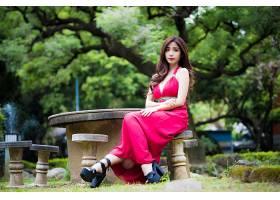 女人,亚洲的,妇女,模特女孩,红色,穿衣,深度,关于,领域,口红,黑发