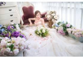 女人,新娘,婚礼,穿衣,白色,穿衣,妇女,模特女孩,黑发女人,花,玫瑰