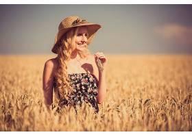 女人,模特,妇女,女孩,微笑,穿衣,白皙的,长的,头发,帽子,小麦,夏