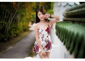 女人,亚洲的,妇女,模特女孩,微笑,穿衣,深度,关于,领域,黑发女人,