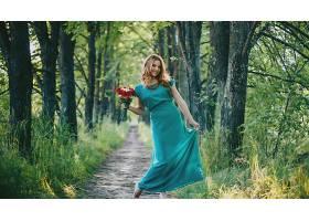 女人,模特,妇女,女孩,深度,关于,领域,小路,绿树成荫,白皙的,蓝色