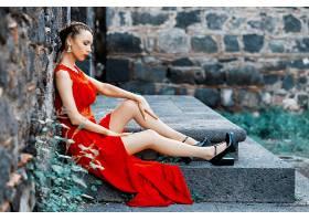 女人,情绪,妇女,模特女孩,红色,穿衣,高的,高跟鞋,黑发女人,口红,