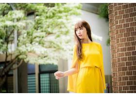 女人,亚洲的,妇女,模特女孩,黄色,穿衣,深度,关于,领域,黑发女人,