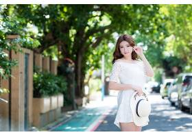 女人,亚洲的,妇女,模特女孩,白色,穿衣,深度,关于,领域,Bokeh,帽