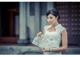 女人,亚洲的,妇女,模特女孩,白色,穿衣,深度,关于,领域,迷,黑色,