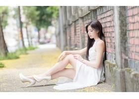 女人,亚洲的,妇女,模特女孩,白色,穿衣,深度,关于,领域,高的,高跟