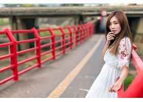 女人,亚洲的,妇女,模特女孩,白色,穿衣,深度,关于,领域,黑发女人,