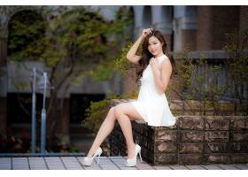 女人,亚洲的,妇女,模特女孩,白色,穿衣,高的,高跟鞋,黑发女人,长