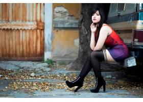 女人,摇篮曲,妇女,模特角色扮演,高的,高跟鞋,穿衣,坐着的,口红,