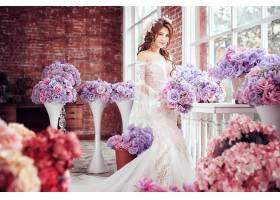 女人,新娘,妇女,模特女孩,亚洲的,白色,穿衣,婚礼,穿衣,酒香,花,