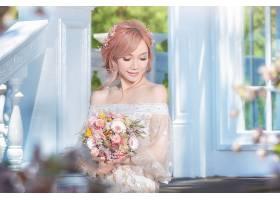 女人,新娘,妇女,模特女孩,亚洲的,粉红色,头发,深度,关于,领域,酒