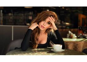 女人,模特,妇女,女孩,深度,关于,领域,红发的人,绿色的,眼睛,长的