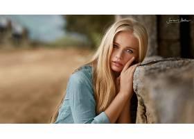 女孩,白皙的,蓝色,眼睛,深度,关于,领域,壁纸,