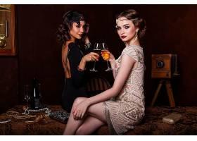 女孩,穿衣,香槟酒,口红,黑发女人,壁纸,