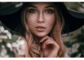 模特,女孩,白皙的,蓝色,眼睛,帽子,壁纸,