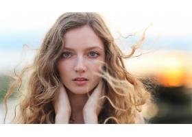 模特,女孩,白皙的,蓝色,眼睛,深度,关于,领域,壁纸,