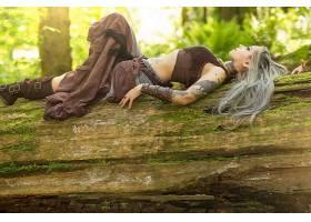 妇女,模特,小精灵,幻想,原木,说谎的,向下,文身,白色,头发,长的,