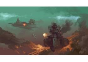 蒸汽朋克,战舰,艺术的,绘画,战争,烟,壁纸,