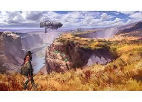 蒸汽朋克,风景,峡谷,男人,车辆,草,河,壁纸,