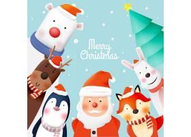 圣诞节雪人和他的动物小伙伴们插画设计