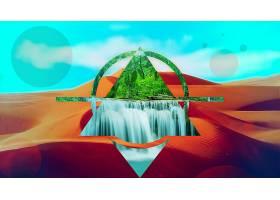 抽象,多景观,风景,瀑布,沙漠,壁纸,